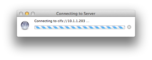 Apple Mac Connecting to Server Progress WIndow